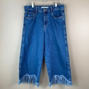 Zara blue wide leg cropped jeans with frayed hems